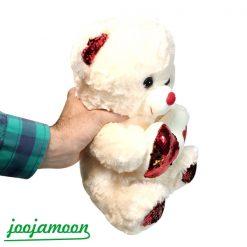 عروسک خرس قلب پولکی