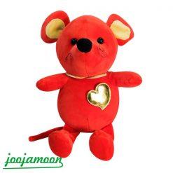 عروسک موش قرمز قلب طلایی