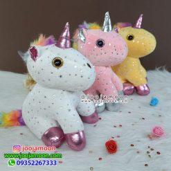 عروسک اسب تک شاخ ستاره ای چشم تیله ای