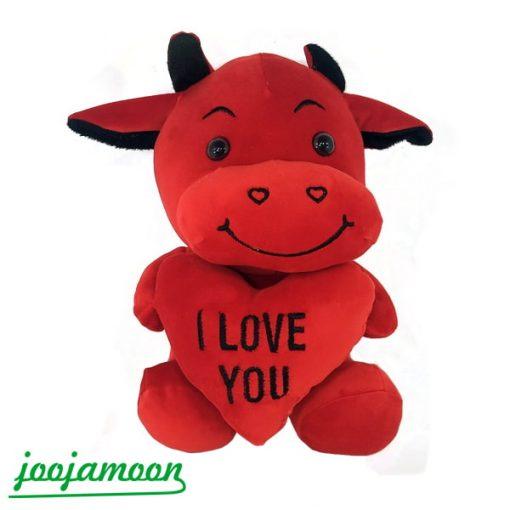 عروسک گاو قلب به دست I Love You