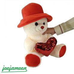 عروسک خرس کلاه دار قلب پولکی 45 سانت