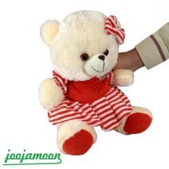 عروسک خرس پاپیون دار لباس راه راه
