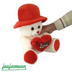 عروسک خرس کلاه دار قلب به دست فرشته