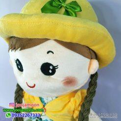 عروسک دختر کلاه پاپیونی با موهای بافته